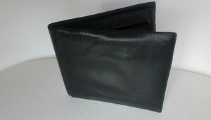 Men-039-s-GENIUNE-LEATHER-BLACK-bifold-WALLET-used-from-Italy