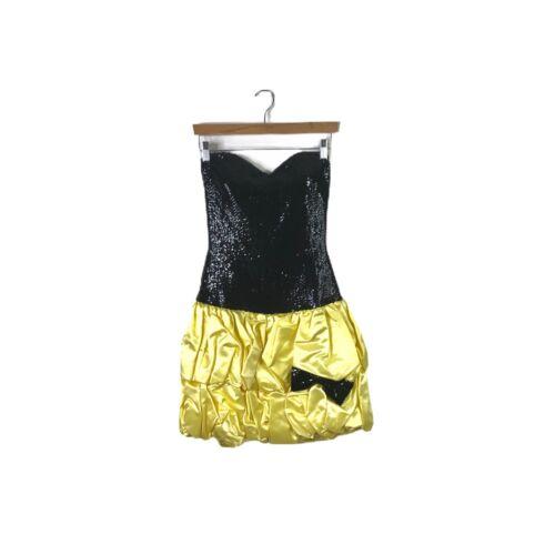 Vintage 80's Yellow Black Sequin Balloon Sweethear