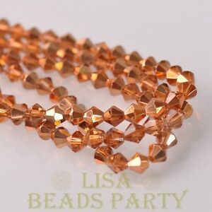 New-Arrival-200pcs-3mm-Faceted-Bicone-Loose-Spacer-Glass-Beads-Rose-Gold