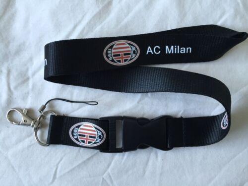 AC Milan Lanyard NEW Black Keyring ID Holder Phone Strap  FC Italy