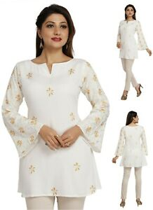 Women-Indian-Ethnic-Top-Kurti-Tunic-Kurta-Shirt-Dress-White-Cotton-EASHITA17D