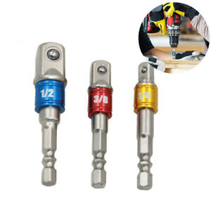 """3x 1//4/""""Hex Drive Quick Change Drill Bit to1//4/"""" 3//8/"""" 1//2/"""" Socket Driver Adapter"""