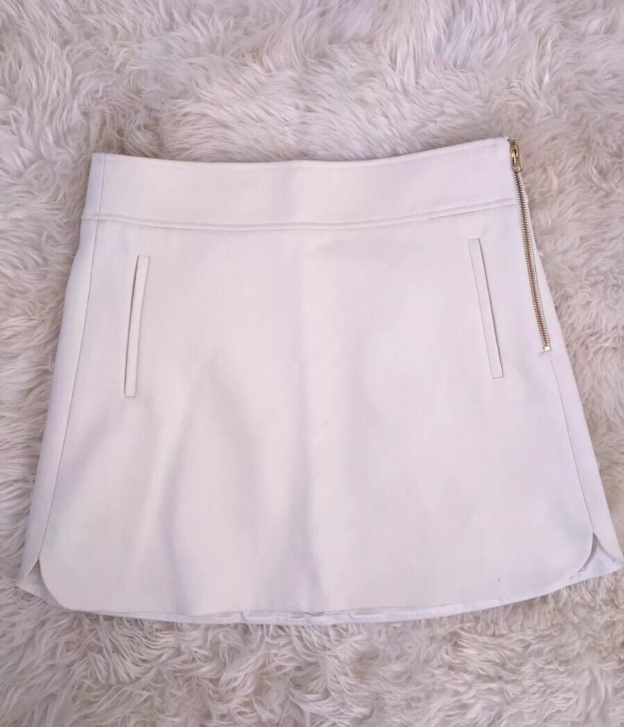 Nwt JCREW Mini Skirt In Double-serge Wool F8325  98 12 Ivory White