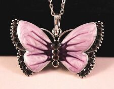 Purple Alloy Rhinestone Butterfly Pendant Necklace w/Free Jewelry Box and Ship