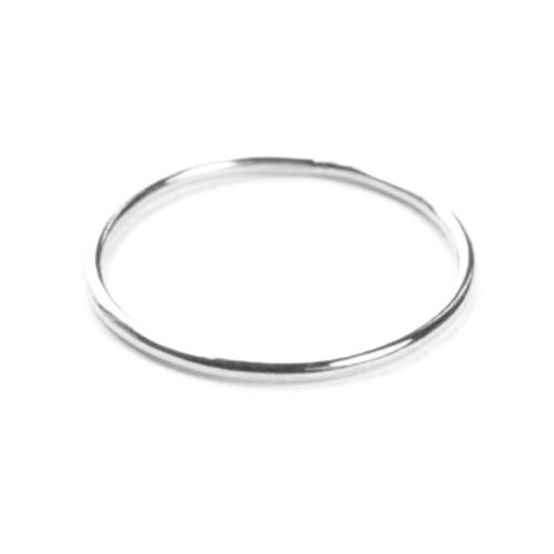 1mm Solid 9ct White Gold Ring Slim Round Wedding Band or Skinny Stacking