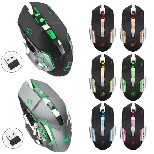 M70 7 LED Backlit Rechargeable 2.4GHz Wireless USB Optical Gaming Mouse Mice US