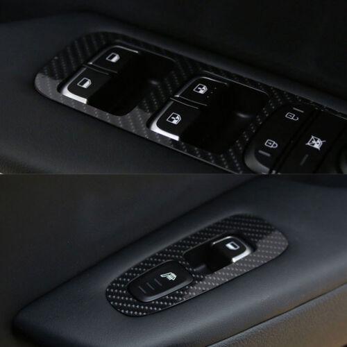 Interior Window Switch Cover Black Carbon Decal Sticker for KIA 2017-18 Stinger