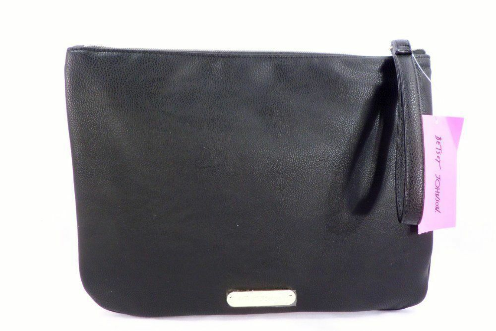 Betsey Johnson $65 NWT Black Gold Silver Pouch Large Zip Wristlet in Gift Box