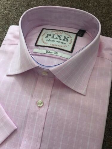 BNWT THOMAS PINK PRINCE OF WALES CHECK CLASSIC FIT SHORT SLEEVE SHIRT 15 1//2