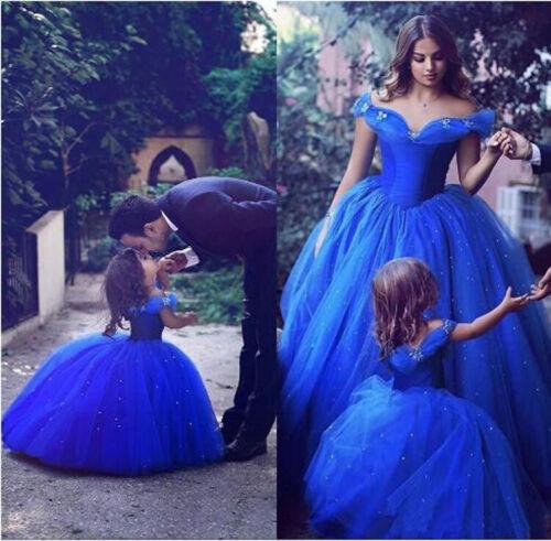 Flower Girl Dresses Pageant Wedding Princess Cinderella Royal Blue Off Shoulder