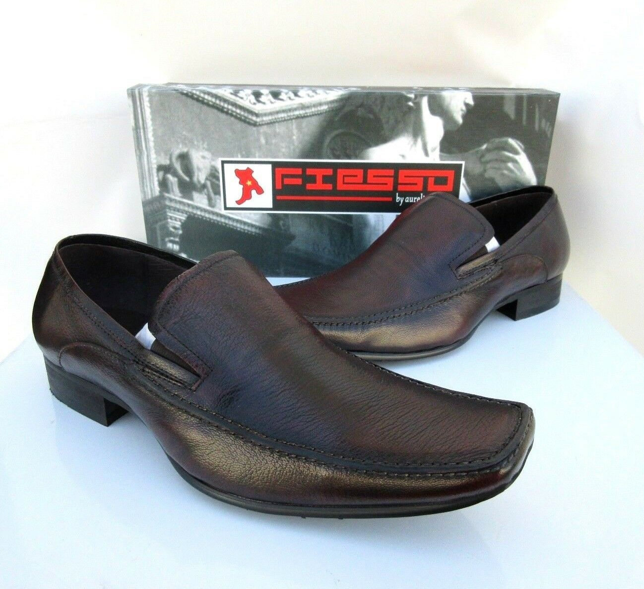 NEW Fiesso Aurelio Leder Garcia  Uomo Marroon Leder Aurelio Loafer Schuhes Style FI-6248 Sz 10 122753