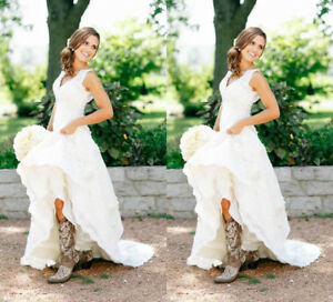 V Neck Western Country Vintage Lace Wedding Dress Bridal Gown with ...
