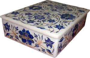 White Marble Jewelry trinket Box lapis lbluei  floral Semi Precious Stones Work