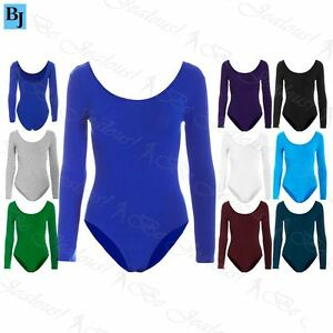 b9647a41e9 Image is loading Womens-Plain-Long-Sleeves-Plain-Jersey-Leotard-Ladies-