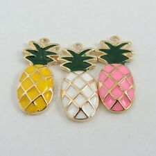 10pcs/lot Enamel Pineapple Pendant Charms 24*11*3mm Mixed Colors 39319