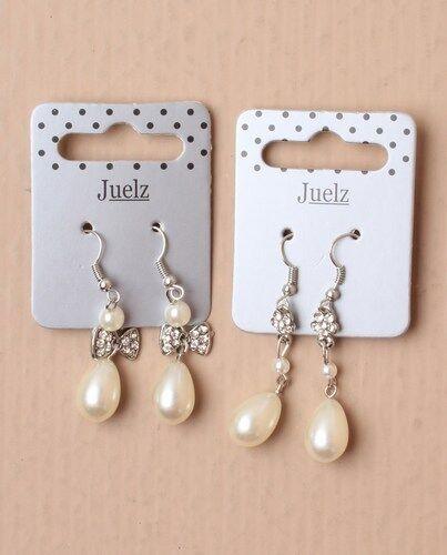Maid Hermoso Estilo Daisy plateado y blanco perla de imitación Gota Colgante Aretes Novia