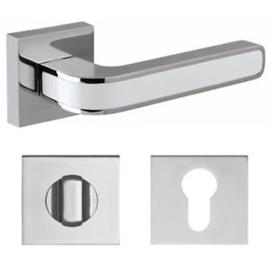Interior Door Lever Handle On Square Rose Polished Chrome