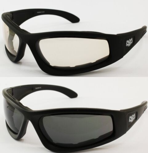 NEW Photochromic Reactalight WIDE FIT Lens Cruiser Motorcycle Padded sunglasses