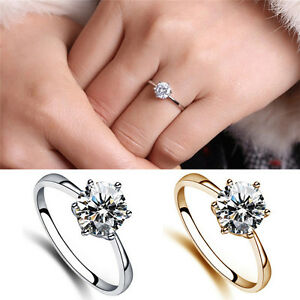Image Is Loading Charm Pretty 6mm Simulated Diamond Wedding Rings Luxury