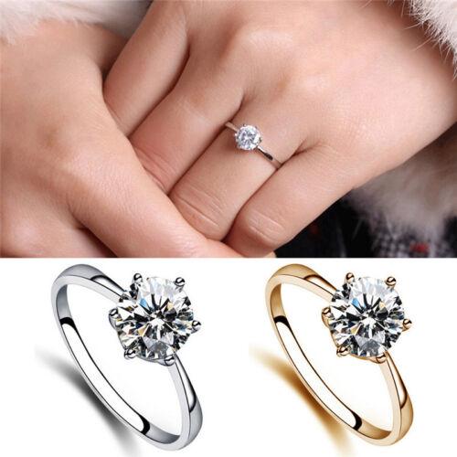 ZPPretty 6Mm Simulierte Diamant Eheringe Luxus Kristall Fingerring U/_M