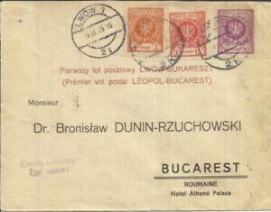 Poland FIRST FLIGHT Mu#18a LWOW 14/11/25 to BUCHAREST, backstamped, SCARCE