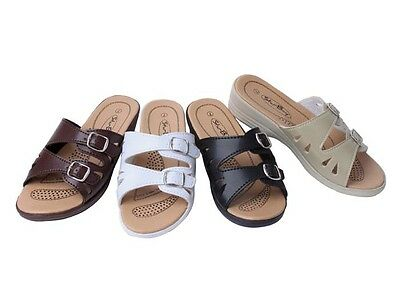 New Women's Double Strap with Buckle Comfort Low Wedge Sandals Shoes soft inner