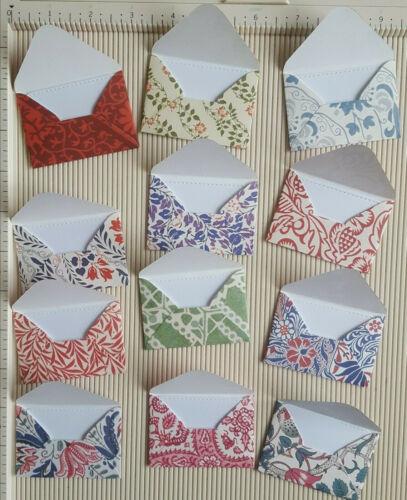 12 Mini Sobres V/&A diseño hecho a mano papel 150gsm 7cm X 5cm//Blanco Tarjeta de inserción