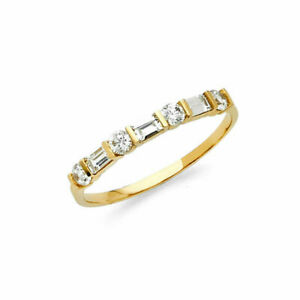 0-50Ct-Round-amp-Baguette-Cut-Diamond-Wedding-Band-Ring-14K-Yellow-Gold-FN-Womens