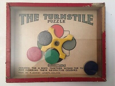 Di Larghe Vedute Vintage Destrezza Puzzle Kanuduit R.j Serie Journet Il Tornello Puzzle Anni 1950-mostra Il Titolo Originale Piacevole Al Palato