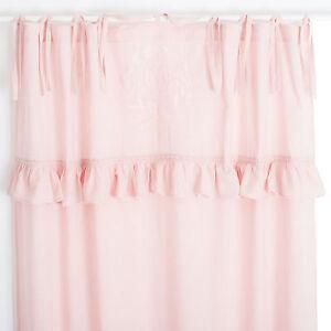 Details zu Mathilde Muschel Rosa bestickt 2x(145x250cm) Gardinen Vorhänge  Shabby Chic