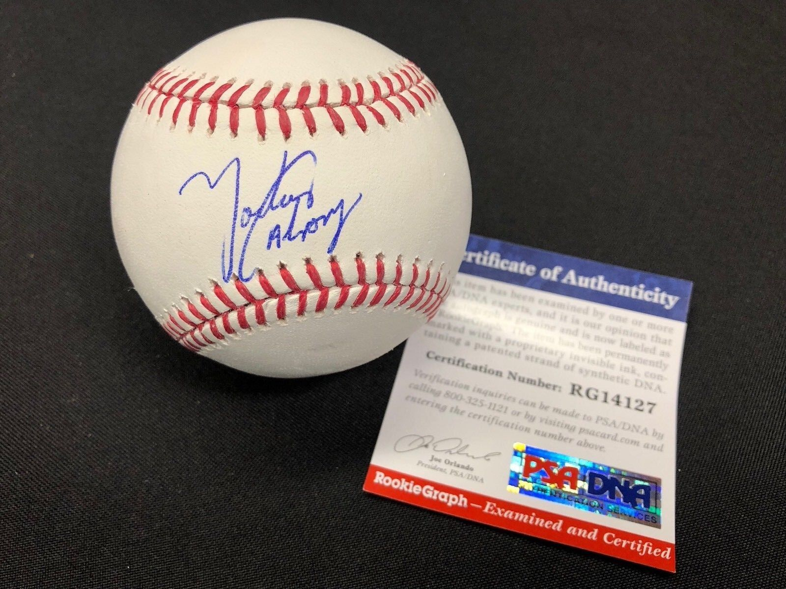 Yadier Alvarez Signed Major League Baseball MLB Dodgers PSA Rookie Graph RG14127