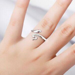 Damen-Ring-Schlange-Versilbert-Silber-925-Platiert-Ring-Zirkonia-Offen-Geschenk