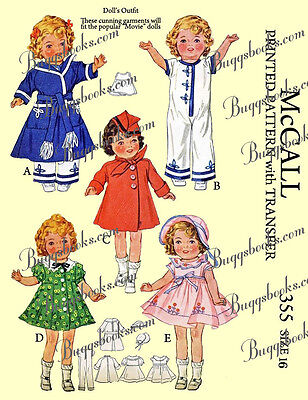 Vintage 1935 McCalls 355 - Shirley temple 16 inch doll sewing pattern