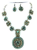 Tribal Turquoise Medallion Chain Statement Necklace Set Brass Summer Rhinestone