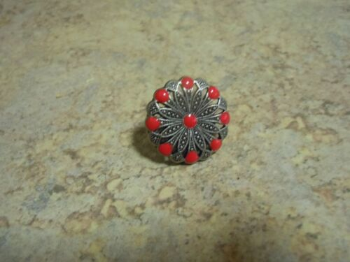 Filigree Concho Old Silver With Red Epoxy
