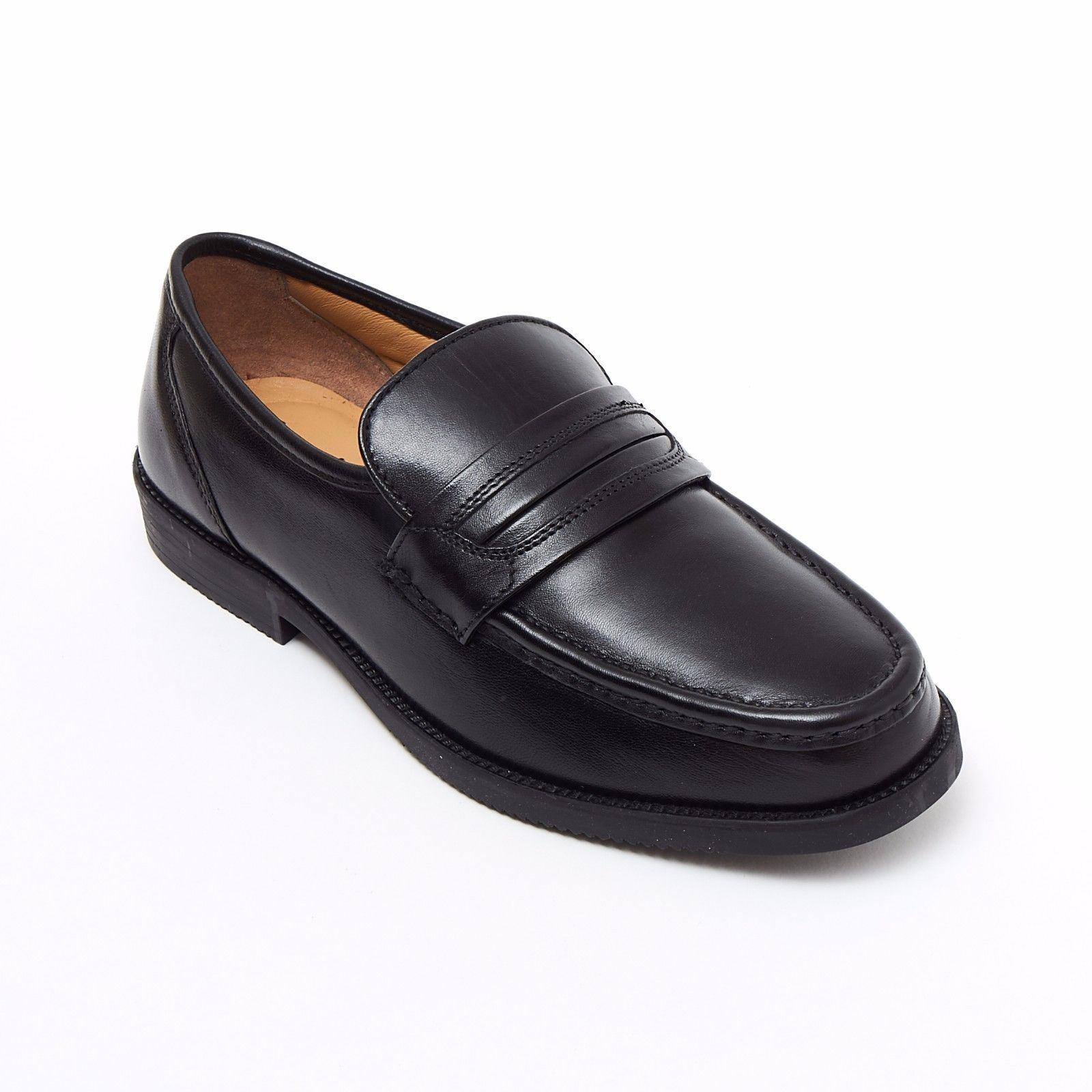 Lucini Formal Men Black Leather Mocassin Heels shoes Slip On Wedding Loafer