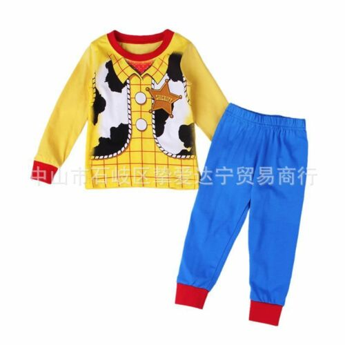 Kids boys dinosaur excavator cartoon pictures pajamas set 2T-7T cotton sleepwear