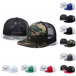 Trucker-Hat-Mesh-Baseball-Snap-Back-Cap-Adjustable-Flat-Visor-Solid-Hip-Hop-Mens