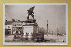 Tarjeta-postal-antigua-POSTAL-Calais-Monumento-en-la-memoria-de-Salvavidas