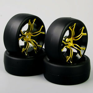 4-x-RC-1-10-On-road-Car-PP-Smooth-Tires-and-Aluminum-5-Spokes-Wheel-Rims-Set