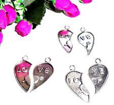 """4 Pendentifs Breloques Charme """"LO VE"""" Coeur, Bijoux Accessoire"""