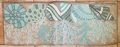 NEW Coastal Collection Beaded Table Runner Centerpiece Seashells Turquoise  Blue | EBay