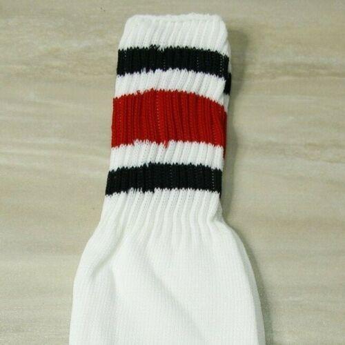 White with Colored Stripes Polyest Crew Length Vintage 80/'s Men/'s Tube Socks