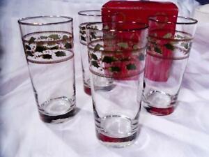 ROYAL-LIMITED-Christmas-HOLLY-HOLIDAY-4-Pc-Lot-HIGHBALL-TUMBLERS-Glasses-MIB