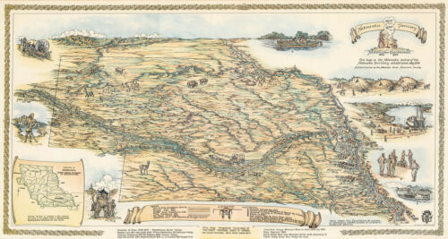 Pictorial Nebraska Territory Map 1854-1954 Trails Wall Art Poster Print Decor