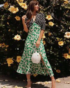 New-Rixo-Martha-Dress-in-Spot-Green-Red-Daisy-Sz-XXS-L