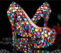 Ladies Crystal Wedding Bridal Rhinestone Platform Party Glitter High Heel Shoes