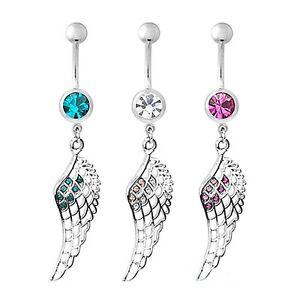Piercing-Nombril-Acier-Chirurgical-Aile-d-039-ange-Cristal-bijoux-fantaisie-neuf