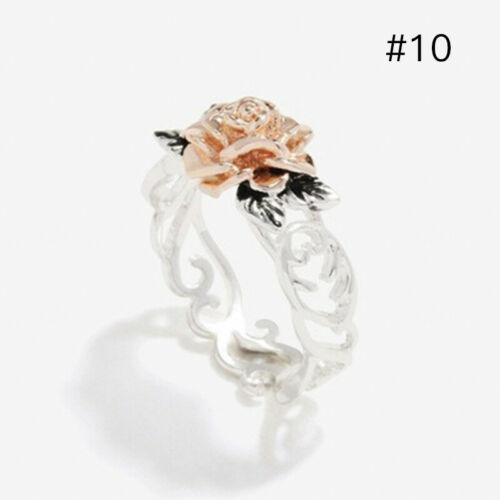 Vintage Rose Flower Women Finger Band Ring Retro Silver Wedding Ring Jewelry