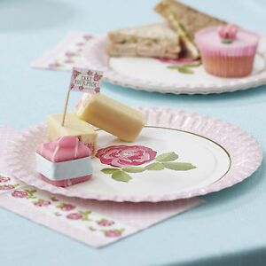 Image is loading 8-x-Vintage-Rose-Tea-Party-Plates-afternoon- & 8 x Vintage Rose Tea Party Plates afternoon tea / buffet Pink Paper ...